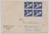 DDR, 1950, Mi.- Nr.: 287 (4x) als MeF auf Fernbrief (der 2. Gewichtsstufe) von Strausfurt nach Schulzendorf, tiefstgepr. Zierer BPP