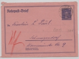 DR / Weimar, 1927, Rohrpost- GS- Umschlag Mi.- Nr.: RU 12, gelaufen per Rohrpost innerhalb von Berlin
