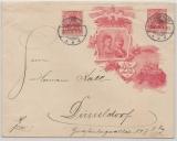 DR, Germania, 1906, 10 Rpfg.- Privat- GS- Umschlag (Mi.- Nr.: PU 20?) + Nr. 86 als Zusatz als Fernbrief von Brackwede nach Düsseldorf