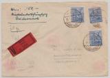 D., Kontrollrat, 1948, Mi.- Nr.: 955 (3x!) als MeF auf Wert- Fernbrief von Marne nach Berlin, sehr seltene Frankatur!!!