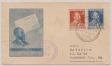 D., Kontrollrat, 1947, Mi.- Nr.: 963 + 964 in MiF auf Satz- (vor) FDC, als Auslandsbrief von Hamburg nach Bloomington (USA)
