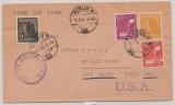 D., Kontrollrat, 1947, Mi.- Nr.: 943, 945, 952 + 954 in MiF auf FDC, als Auslandsbrief von Berlin nach West Haven (USA)