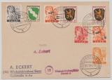 Saar /FRZ, 1947, interessante MiF von Saar und FRZ- Marken, auf Ortspostkarte innerhalb von Wiebelskirchen, sehr selten!