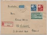 FRZ, Württemberg, 1949, Mi.- Nr.: 49, 51 + 52 als MiF auf Einschreiben- Fernbrief von Öhringen nach Sulzdorf
