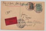 DR, 1914, 5 Rpfg.- Germania- GS + Mi.- Nr.: 88 als Zusatzfrankatur auf Eilboten- Ortspostkarte innerhalb Berlin´s