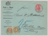 DR, 1909, Mi.- Nr.: 86 als EF (+ 2 Schweizer Nachportomarke) auf Auslandsbrief von Stuttgart nach Wohlen- Argau (CH)