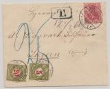 DR, 1903, Mi.- Nr.: 71 als EF (+ 2 Schweizer Nachportomarke) auf Auslandsbrief von Mülhausen nach Luzern (CH)
