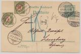 DR, 1901, 5 Rpfg.- GS als EF (+ 2 Schweizer Nachportomarke) als Auslandskarte von FF/M nach Lenzburg (CH)