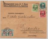 DR, Infla, 1921, Mi.- Nr.: 126 u.a. als MiF (+ 2 Schweizer Nachportomarke) auf Auslandsbrief von Regensburg nach Disentis (CH)