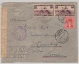 Ägypten, 1945, 52 Mills MiF auf Luftpost- Auslandsbrief von Alexandria nach Zugerberg (?), CH, mit 2x Zensur