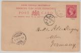 Bermuda, 1895, 1 Pence- GS- Karte, verwendet als Auslandskarte von Ha... nach Ulm (D), via London