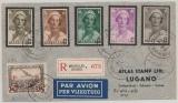 Belgien, 1933, 2,2 Fr. MiF auf Einschreiben- Luftpost- Auslandsbrief von Brüssel nach Lugano (CH), vs. + rs. hochdekorativ!