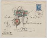Belgien, 1929, 1,75 Fr. EF auf Auslandsbrief (mit 3 Schweizer Nachportomarken) von Roux nach Gossau (CH)