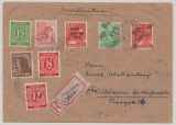 20 Naumburg, (2 Typen!!!) 168 IV + 181 IV, u.a. als MiF auf Einschreiben- Fernbrief von Naumburg nach Stössen
