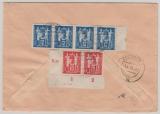 DDR, 1950, Mi.- Nrn.: SBZ 223 (vs.) + DDR 243 (4x) + 244 (2x, 1 x mit DV!!!) auf NN- Einschreiben von Berlin nach Chemnitz