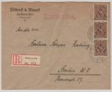 DR, Infla, 1923, Mi.- Nr.: 208 P, (3x), in MeF auf Einschreiben- Fernbrief von Helmbrechts nach Berlin, gepr. Infla Berlin