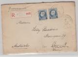 Belgien, 1924, 75 C. (2x) als Einschreiben- Auslandsbrief von Ixelles Elsene nach nach Wien (A)