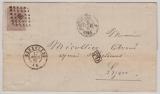 Belgien, 1867, 30 C. EF auf Auslandsbrief von Bruxelles (?) nach Lyon (Fr.)