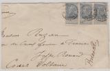 Belgien, 1902, 25 C. (3x) als MeF auf Auslandsbriefteil von Bruxelles nach ... (Fr.)