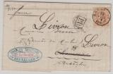 Belgien, 1874, 30 C. EF auf Auslandsbrief von Bruxelles (?) nach ...  (Fr.)