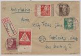 217 + 222 (je mit Seitenrandbordüre), in MiF mit anderen Werten auf E.- Fernbrief von Hamersleben nach Braunlage