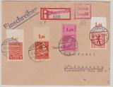SBZ, 1945, Mi.- Nr.: 3A, 11, 70 + 96 (je vom OR), in MiF in Teilbarfrankatur auf Orts- Einschreiben innerhalb von Chemnitz