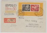 DDR, 1950, Bl. 7 auf Einschreiben- Fernbrief, mit 3 Debria- Stempeln, gelaufen von Leipzig nach Halle