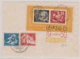 DDR, 1950, Bl. 7 u.a. auf Karte, mit 3 Debria- Stempeln, nicht gelaufen