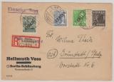 Berlin, 1948, Mi.- Nr.: 1, 4, 7 + 15 in MIF auf Einschreiben- Fernbrief von Berlin nach Grünstadt (?)