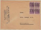 Bizone, 1948, Mi.- Nr.: 37 I (b) (4x) als MeF auf Fernbrief von Bocholt nach Ebingen