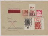 Bizone, 1948. Mi.- Nr.: 38 II WOR + A 49 I POR ndgz u.a. als MiF auf Wert- Fernbrief von Teublitz nach Burglengenfeldt