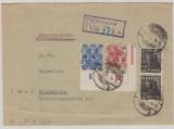 Bizone, 1948, Mi.- Nr.: 36 I (2x), 46 II + 48 II (je vom ER ru) als MiF auf E.- Fernbrief von Burglengenfeldt nach Hildesheim