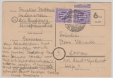 AM- Post, 1946, 6 Rpg.- Not- GS + 2x 3 Rpg. Am- Post als Zusatzfrankatur, als Fernkarte von Hademarschen nach Loosen