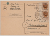 FRZ / Baden, Mi.- Nr.: 3 (2x), vom ER mit Bogennummer, als MeF auf Postkarte von Freiburg nach Berlin
