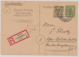 Berlin / BrB., 1946, 5 Rpfg.- GS (Mi.- Nr.: P3c)  + Mi.- Nr.: 7 als Zusatz, gelaufen als Orts- Einschreiben- Postkarte innerhalb von Berlin