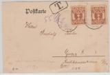 111 (2x) als reine MeF auf Auslandspostkarte von Danzig nach Graz (A)