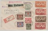 133- 137,  u.a. als MiF auf Fernbrief- Flugpost- Einschreiben von Danzig nach Weingarten, via Berlin