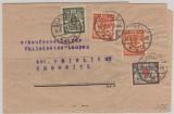 141, 142 (2x) + 144 als MiF auf Zeitungsstreifband von Danzig nach Chemnitz