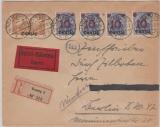 10 + 17 (4x), in MiF auf Eilboten- Einschreiben- Fernbrief von Danzig nach Berlin, gepr. Infla
