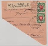 198 (2x) auf gr. Teil einer Paketkarte von Stutthof nach Danzig (?)