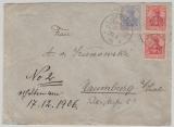 Deutsche Seepost, Australische Hauptlinie, 86 (2x) und 87 auf Brief nach Naumburg, rs. Transit- u. Ankunftsstempel