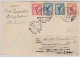 379, 380 (2x) + 381, auf Beleg zur Ostseefahrt, mit Nachsendung, an Schiffspassagier, Bergen (N) => Tschechoslovakei