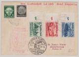 DR 295- 97, u.a., zur Deutschlandfahrt 1939, per LZ 130, Landung in Leipzig, auf Postkarte nach Aschaffenburg