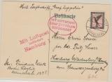 DR 382 als EF auf Karte zum Zeppelintag in Berlin- Staaken nach Hamburg, befördert mit Zeppelin und Lupo