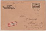 198 als EF auf Auslandseinschreiben von Saarbrücken nach Straßburg im Els., vom Postamt