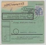 Kontrollrat 957 (80Pfg. Arbeiter) als EF (!) auf Paketkarte, von Leipzig nach Berlin- West