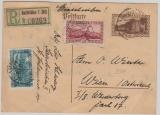 40 Cent (braun) GS mit Zusatzfrankatur, mit Einschreiben ins Ausland