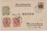 Dt. Bes. Polen Nr.: 1, + Stadtpost Warschau Nrn.: 2, 7+ 8, in MiF auf Brief innerhalb Warschaus, 1915