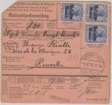 Dt. Bes. Belgien Nrn.: 3 (rs.) +  4 (3x) in MiF auf Auslandspostanweisung