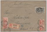 Oberschlesien, 16 (4x) + 22 auf Einschreiben- Fernbrief von Kattowitz nach Hannover